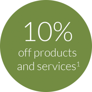 10 Percent Off Products and Services(1)